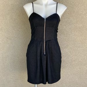 Denim Blue Zip Up Front Short Casual Mini Dress